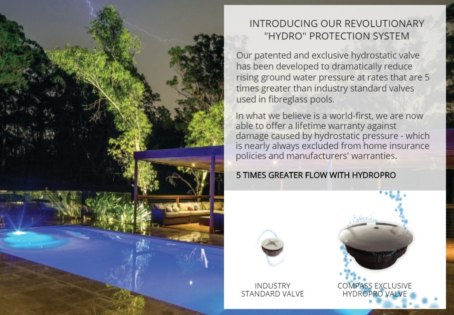 Swimming pool protection from hydrostatic events